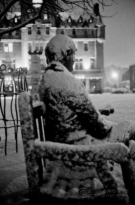 Let the Cold Bother Me Not - Sandy Irvine Robertson statue, Edinburgh