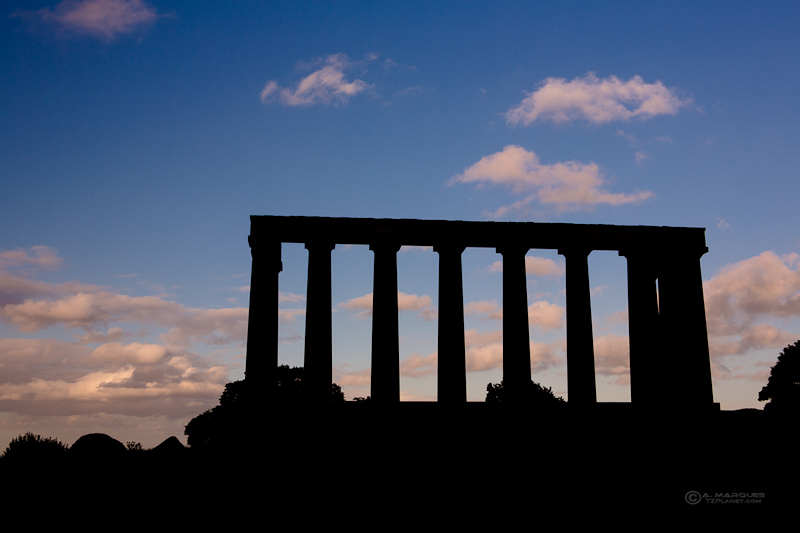 National Monument of Scotland in silhouette