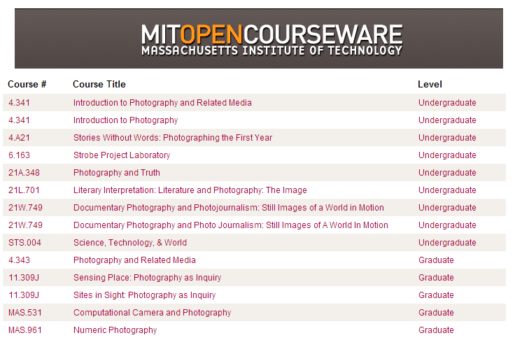 MIT list of free photography courses